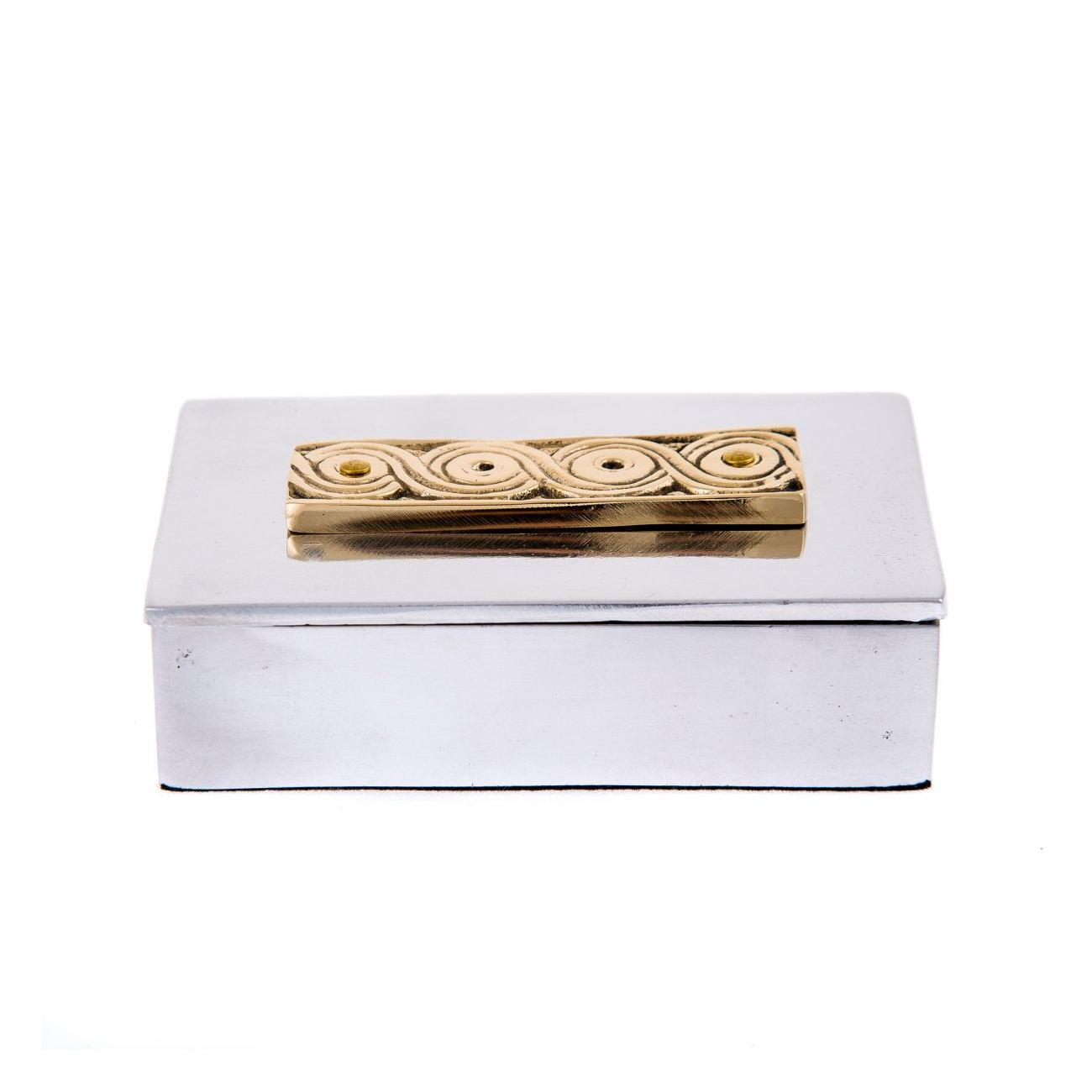 Desk Accessories Set Of 2 Archaic Design Handmade Solid Metal Decorative Storage Box Business Card Holder