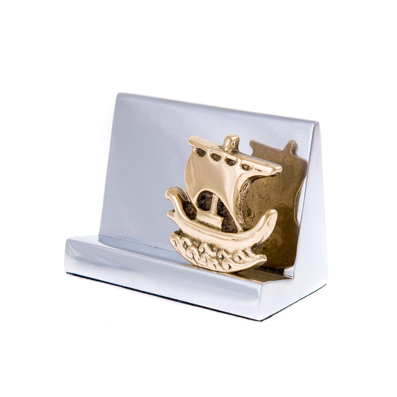 Desk Accessories Set Of 2 Archaic Ship Design Handmade Solid Metal Decorative Storage Box Business Card Holder