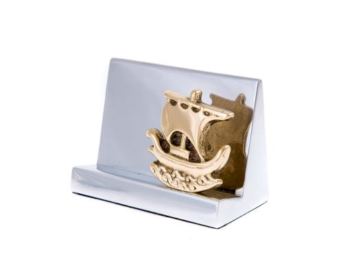 Desk Accessories Set of 2 - Archaic Ship Design - Handmade Solid Metal - Decorative Storage Box, Business Card Holder