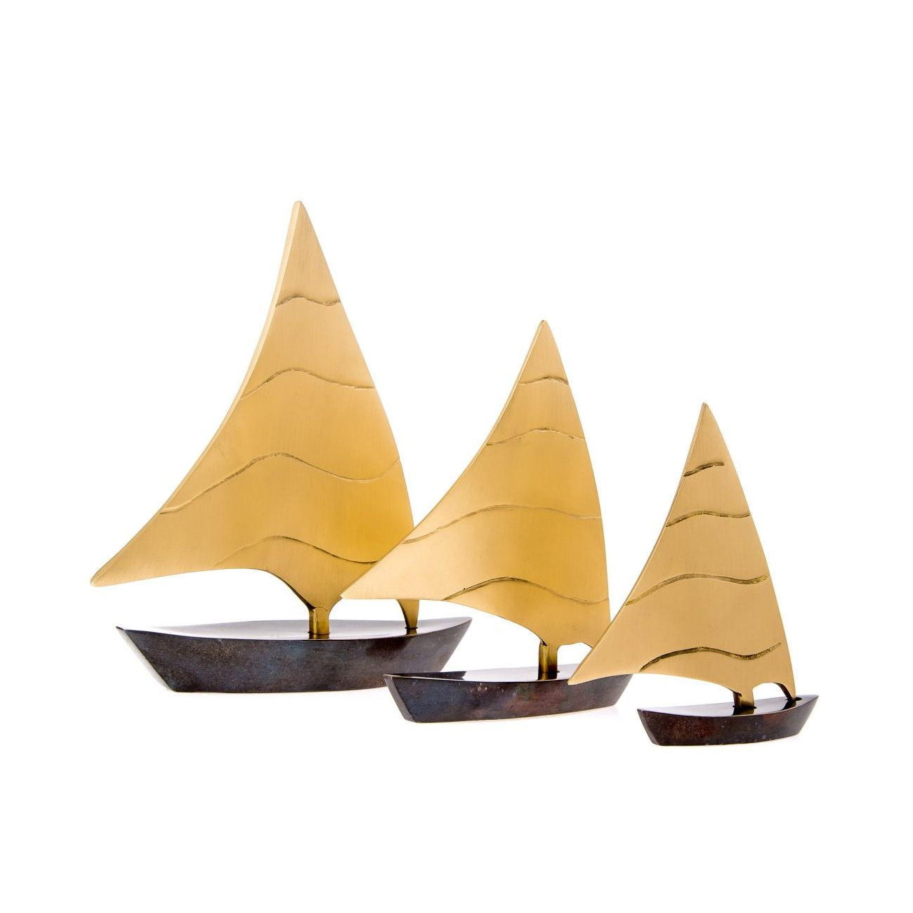 Sailing Boat, Set of 3 - Handmade Metal Decorative Nautical Ornament ...