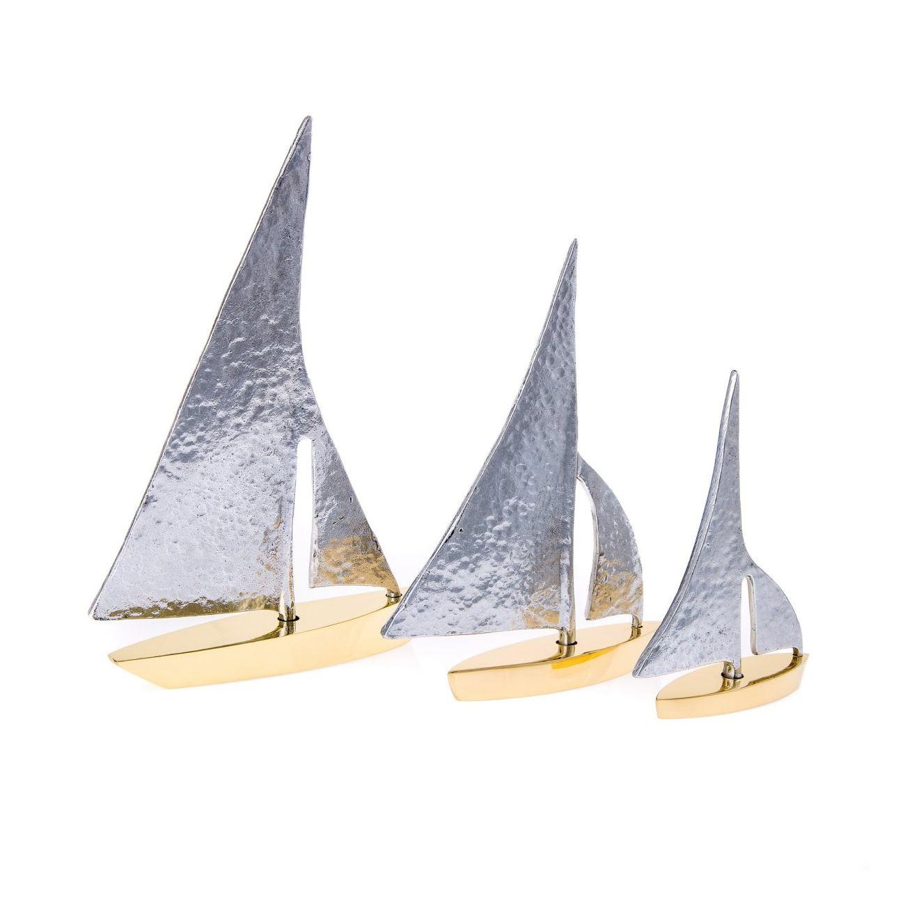 Sailing boat set of handmade metal decorative