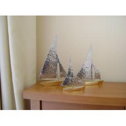 Sailing Boat, Set of 3 - Handmade Metal Decorative Nautical Ornament - Bronze & Aluminum - Gold & Silver - Small, Medium & Large