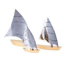 Σετ 3 Διακοσμητικά Καράβια - Μεταλλικά, Ασημί