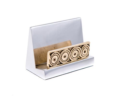Desk Accessories Set of 3 - Archaic Design - Handmade Solid Metal - Decorative Storage Box, Business Card Holder & Letter Opener