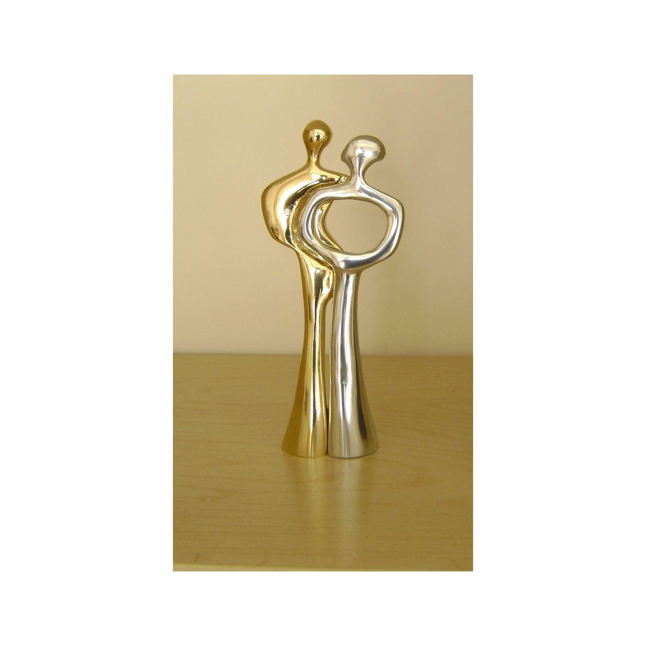 Couple Figurines Art Sculpture - Handmade Metal Decor, 2 Pcs - Gold ...