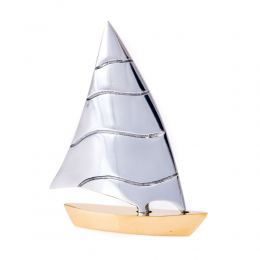 Sailing Boat - Handmade Metal Decorative Nautical Ornament - Bronze & Aluminum - Small 4.3'' (11cm)