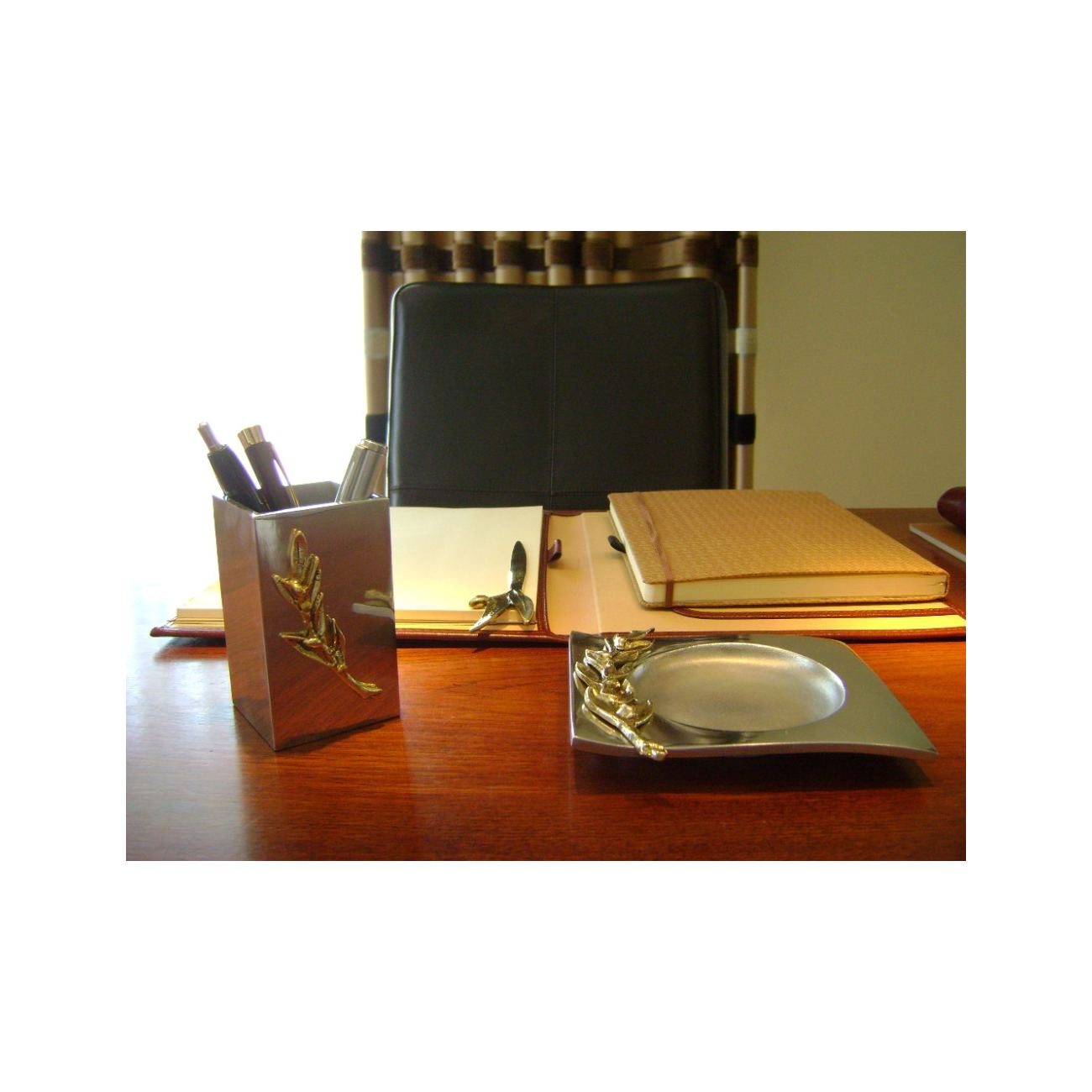 Pen Holder Or Pencil Handmade Solid Metal Desk Accessory Olive Branch Design