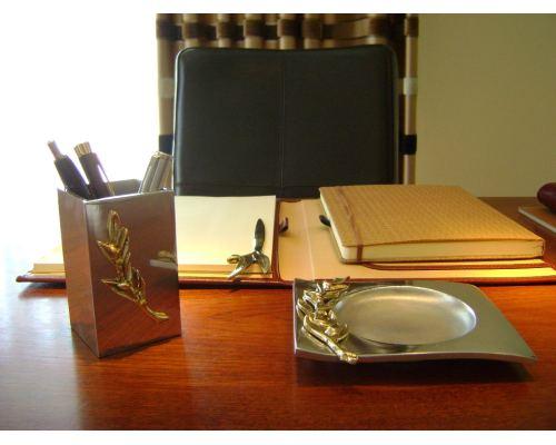 Μολυβοθήκη - Μεταλλικό Αξεσουάρ Γραφείου - Κλαδί Ελιάς