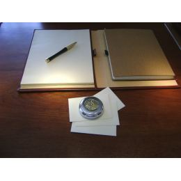 Paperweight (Presse Papier) - Handmade Solid Metal Desk Accessory - Sun of Vergina Design, Gold & Silver