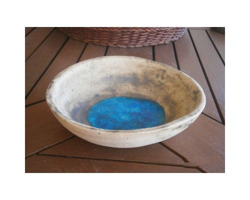 "Bowl - Handmade Beige Ceramic & Blue Glass - Casual Style - Small 7"" (18cm)"