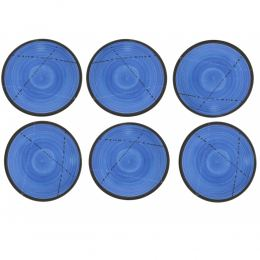 "SET of 6, Serving Plates or Dishes, Handmade Ceramic - Blue 8.6"" (22cm)"