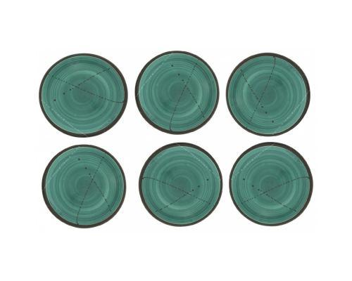 Πιάτα Γλυκού - Σετ 6 Κεραμικά, Πράσινα