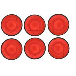 Πιάτα Γλυκού - Σετ 6 Κεραμικά, Κόκκινα