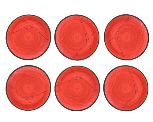 Πιάτα Φαγητού - Σετ 6 Κεραμικά, Κόκκινα