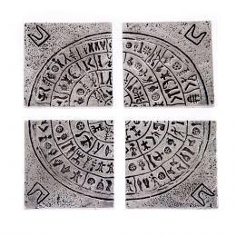 Σουβέρ - Σετ 4 Μεταλλικά με Θήκη - Δίσκος της Φαιστού