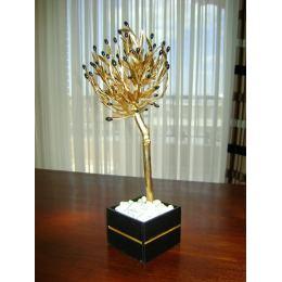 Μεγάλο Μπρούτζινο Δέντρο Ελιάς - Επίχρυσο Διακοσμητικό σε Μαύρο Κασπώ, 60cm Υψος