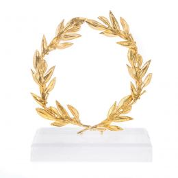 Handmade Decorative Olive Wreath with Golden Patina on Plexiglass Base, 14cm (5.5'')