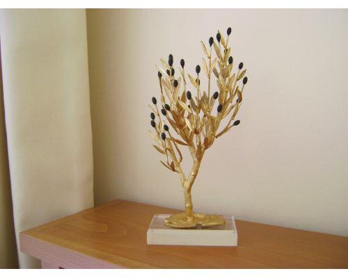 Δέντρο Ελιάς - Επίχρυσο Διακοσμητικό με Καρπούς, Μεγάλο