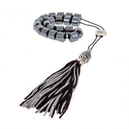 Greek Worry Beads or Komboloi - Handmade, Hematite Gemstone (Long Beads) with Alpaca Parts on Pure Silk Cord & Tassel