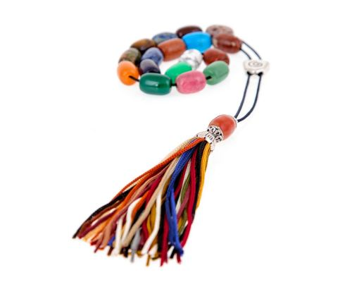 Greek Worry Beads or Komboloi - Handmade, Multi color Beads with Alpaca Parts on a Pure Silk Cord & Tassel