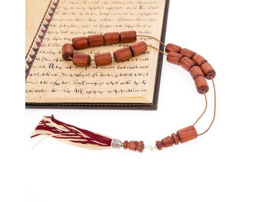 Κομπολόι από Ξύλο Τριανταφυλλιάς & Ασήμι 925