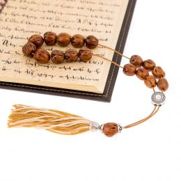 Worry Beads & Key Holder Ring Set of Brown Nutmeg Seed Beads