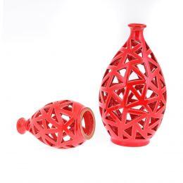 Φαναράκια Διακοσμητικά για Ρεσώ - Σετ 2 Κεραμικά, Κόκκινα