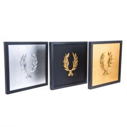 Laurel Wreath Design Set of 3 - Handmade Wall or Table Ornaments - Silver, Gold & Black, 11.8'' (30cm)