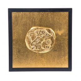 Κάδρο - Διακοσμητικό, με Κουκουβάγια - Γλαύκα, Χρυσό