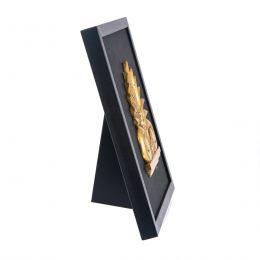 Κάδρο - Διακοσμητικό, με Ανάγλυφο Ακροκέραμο, Χρυσό σε Δέρμα