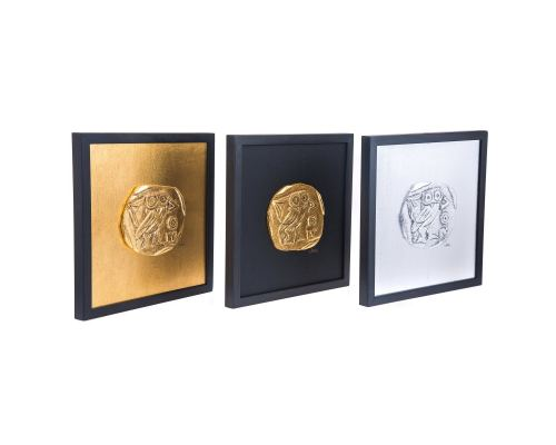 Athenian Owl Coin Design Set of 3 - Handmade Wall or Table Ornaments - Gold, Silver & Black, 11.8'' (30cm)