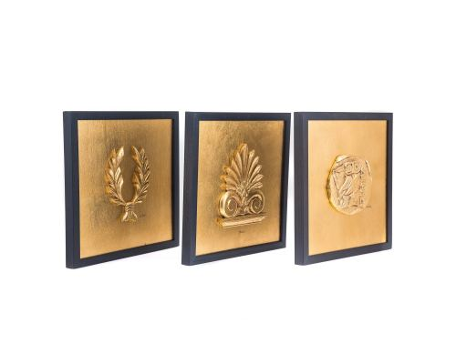 Antefix, Laurel wreath, Athenian Owl Coin Designs - Gold Patinated Set - Wall or Table Ornaments