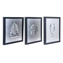 Antefix, Laurel wreath, Athenian Owl Coin Designs - Silver Patinated Set - Wall or Table Ornaments