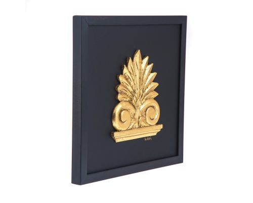 Antefix, Laurel wreath, Athenian Owl Coin, Designs - Gold Patinated on Black Leather, Set - Wall or Table Ornaments