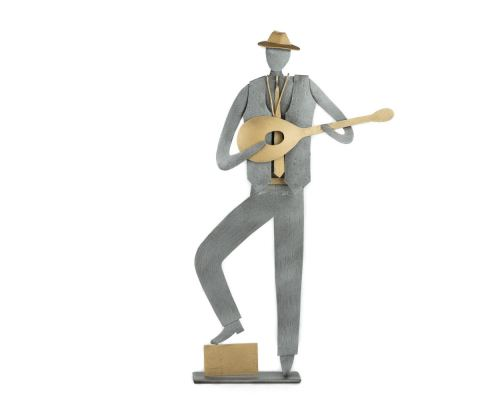 """""""Bouzouki"""" Player, Musician Figurine, Handmade Modern Metal Wall Art & Tabletop Decor Sculpture 9.5"""" (24cm)"""