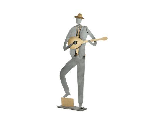 Μουσικός με Μπουζούκι – Μεταλλικό Διακοσμητικό Τοίχου και Επιτραπέζιο, Ασημί & Χρυσό