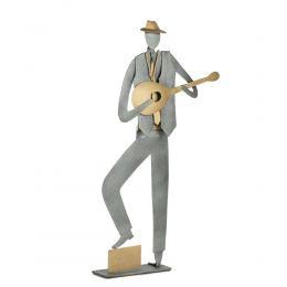 Bouzouki Player, Musician Figurine - Modern, Metal Handmade Wall Art & Tabletop Decor Sculpture