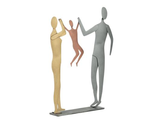 Happy Couple with Child. Modern Handmade Metal Wall Art & Tabletop Decor Sculpture