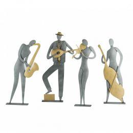 Music Player Figurine - Modern Handmade Metal Wall Art & Tabletop Decor Sculpture - 4 Designs