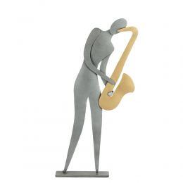 """Saxophone Player Figurine - Modern Metal Wall Art & Tabletop Decor Sculpture, Handmade, 9.5"""" (24cm)"""