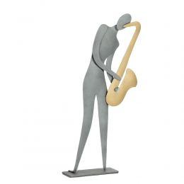 Saxophone Player Figurine - Modern Handmade Metal Wall Art & Tabletop Decor Sculpture