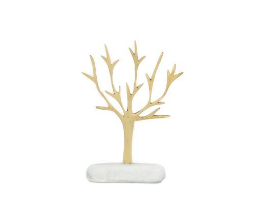 Decorative Olive Tree, Handmade of Brass on White Marble Base, 15cm (5.9'')