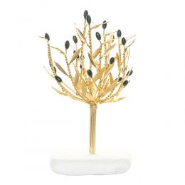 Decorative Olive Tree, Handmade of Brass with Golden Patina, Black Olives on White Marble Base, 20cm (7.9'')
