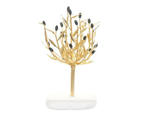 Δέντρο Ελιάς Επίχρυσο με Καρπούς - Διακοσμητικό σε Λευκό Βότσαλο