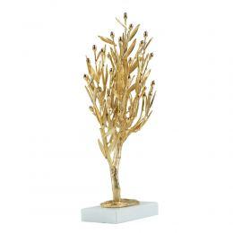 Δέντρο Ελιάς με Καρπούς - Επίχρυσο Διακοσμητικό με Μαρμάρινη Βάση (29cm)