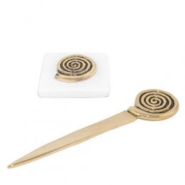 """Desk Accessories Set of 2 - """"Spiral"""" Design. Handmade of Solid Metal & White Marble, Letter Opener & Paperweight"""