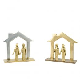 """Business Card Holder - Handmade Solid Metal Desk Accessory, """"Family House"""" Design - 2 Colors"""