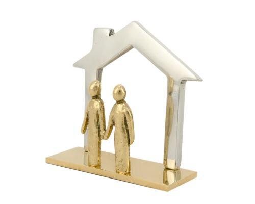 Καρτοθήκη Γραφείου – Μεταλλικό Αξεσουάρ Γραφείου, Σπίτι με Ζευγάρι Φιγούρες, Ασημί-Χρυσή