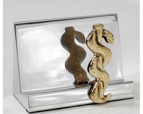 Καρτοθήκη - Μεταλλικό Αξεσουάρ Γραφείου, Κηρύκειο του Ασκληπιού (Σύμβολο Ιατρικής)