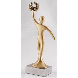 """Champion"" Design, Table Sculpture - Solid Brass on Aluminum Base - Handmade Decor Creation - 20cm (7.9"")"